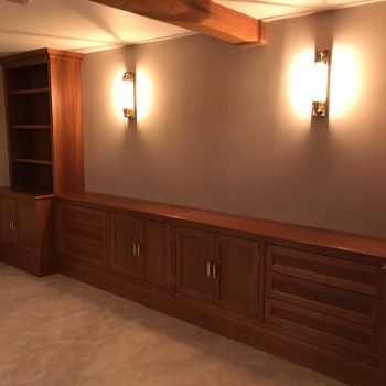 Cherry Bookcase with traditional butt hinges manufactured by Touch Bespoke Joinery