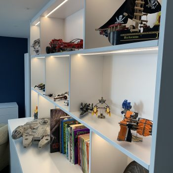 Star wars Lego toy being displayed on a bespoke bookcase