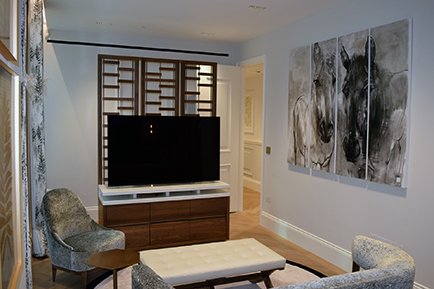 Black American walnut TV/Room divider manufactured by Touch Bespoke Joinery
