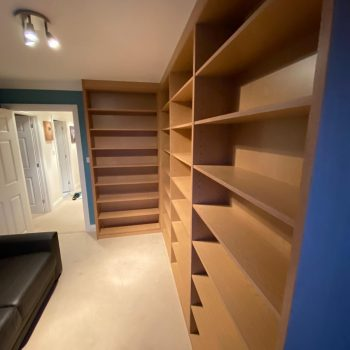 Oak Egger MFC adjustable shelf bookcase manufactured by Touch Joinery