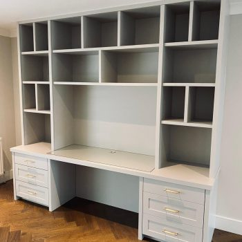 Home office with glass inlay to worktop