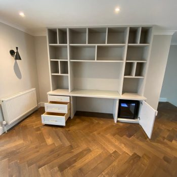 Home office cabinet with drinks fridge