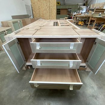 Bespoke Island for Kitchen with extra deep Blumotion 750mm drawer runners and Oak drawer boxes