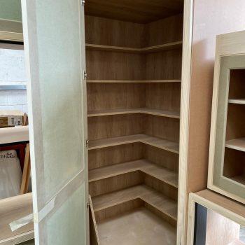 Walk in kitchen larder cabinet being manufactured