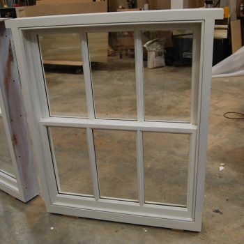 Box frame sashes being manufactured in the workshop