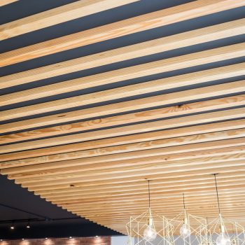 Timber slatted ceiling