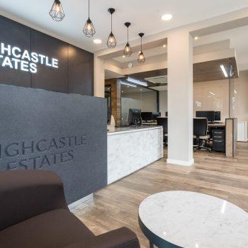 Bespoke reception desk fitted in estate agents.