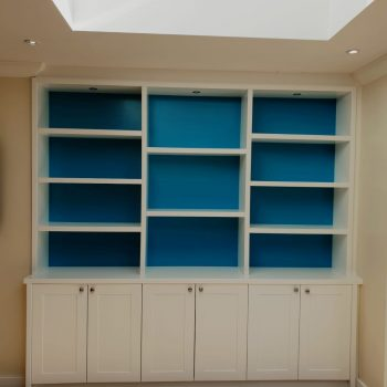 Bookcase with symmetrical shelving and feature color backs.