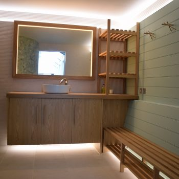 Bespoke Oak Bench Seating, Towel Dryer and Vanity Unit