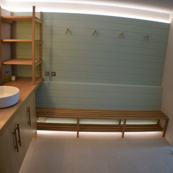 Bespoke Oak Cabinetry fitted into Swimming Pool Changing Room.