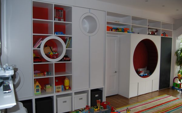 Bespoke Play Room Joinery, Nook area, Upholstery seating, Chalk Board, pull out storage