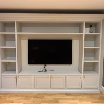 Bespoke Media Wall fully fitted, Manufactured from MR MDF with a Farrow and Ball colour spray paint finish