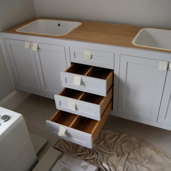 His and Hers Bespoke Fitted Vanity Unit, Drawers open to show dividers in drawers