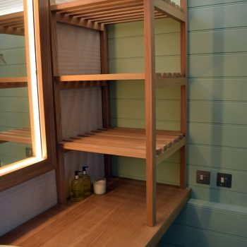 Bespoke Airing shelves for changing room of private swimming pool, Solid Oak construction