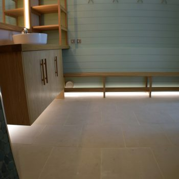 Bespoke Joinery for Wet room next to swimming pool, Solid Oak joinery