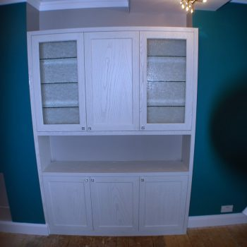 Alcove bookcase, Ash timber and veneer, White wash finish