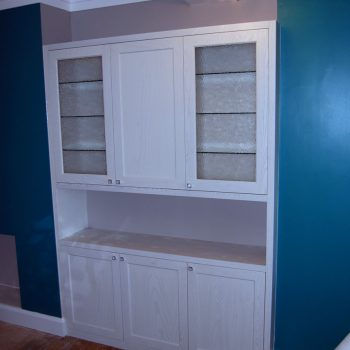 Bespoke Alcove drinks cabinets, manufactured from Ash, White spray painted finish