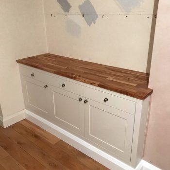 Bespoke side table for dining room, Shaker doors, Flush drawer fronts, Solid Oak worktop, Spray paint finish