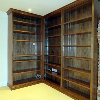 Bespoke Bookcase with adjustable shelves, Black American Walnut veneer and solid timber