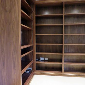 Black American walnut bookcase, all shelves adjustable with tonk strip and shelf studs