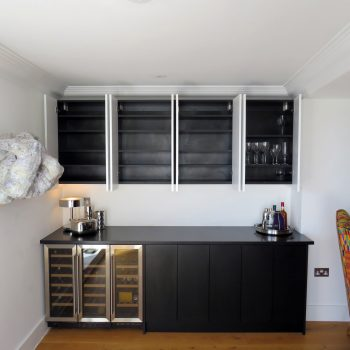 Home Bar, Black Carcases, Black doors to base units, White doors to wall units
