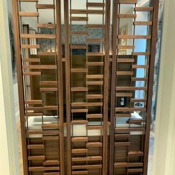 Black American walnut TV/Room divider, Antique Brass support rods