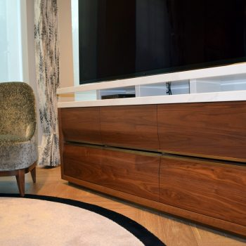 Solid Black American Walnut Drawer Fronts with Antique Brass Handles