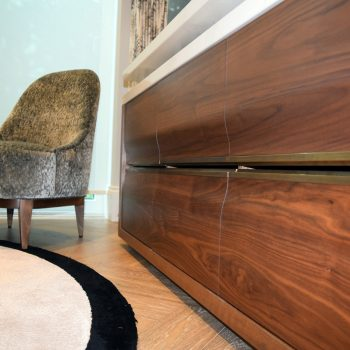 Solid Black American Walnut Drawer Fronts with Slope to face, Antique Brass Handles