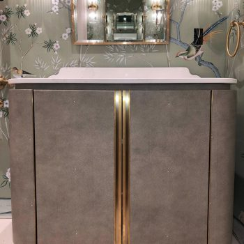 Bespoke Vanity Unit, Faux Shark Skin Leather Doors with Solid Antique Brass Handles