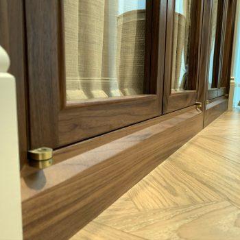 Close up image showing Frame work to Bespoke Wardrobe, Timber used was Black American Walnut