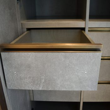 Faux Leather Drawer fronts with Solid Antique Brass Handles, Sycamore Veneer Carcases, Blumotion Movento Drawer Runners