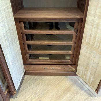 Bespoke Wardrobe, Black American Walnut, Glass fronted drawer fronts