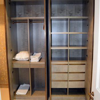 Bespoke Wardrobe, Grey Sycamore veneered Carcases, Faux Shark skin leather doors
