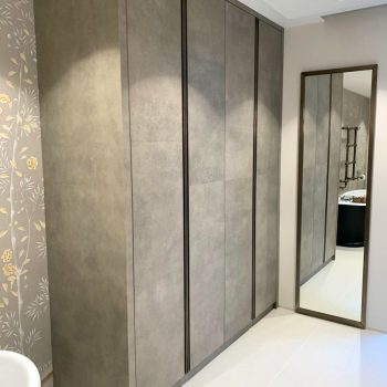 Bespoke wardrobe for bathroom Faux Shark Skin Leather Doors with Solid Antique Brass Handles