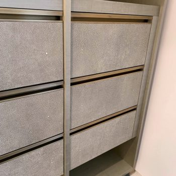 Faux Shark Skin Leather Drawer fronts with Solid Antique Brass Handles, Sycamore Veneer Carcases