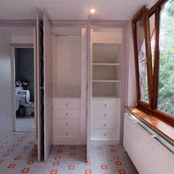Wardrobe, Doors open to reveal the carcases