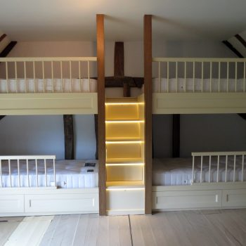 Bespoke Bunk Beds, Staircase with drawers and LED lighting.
