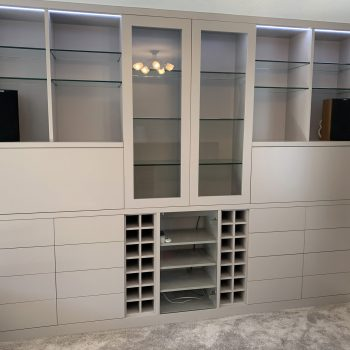 Bespoke Joinery cabinet for multiple uses, Wine storage and open shelving