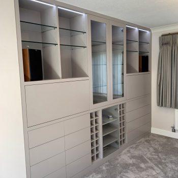 Bespoke Cabinet, Wine storage, Hi-Fi unit with glass door, open shelving, pull down flap doors