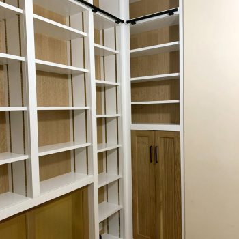 Home study, Sliding library ladder, Oak Backs and doors, white painted framework and carcases