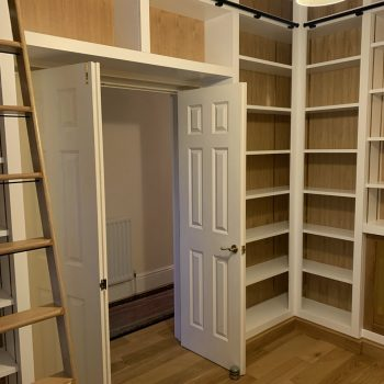 Home office, floor to ceiling, Oak, Painted MR MDF, Solid Oak library ladder