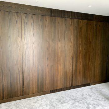 Bespoke wardrobe, Flush doors, Oak veneered Book matched doors