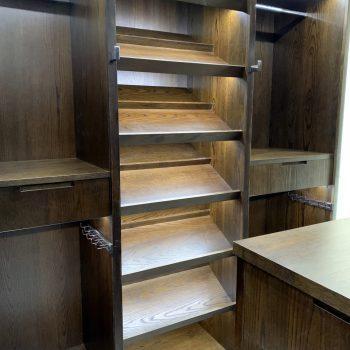 Bespoke Walk in Wardrobe, Open shoe storage shelves