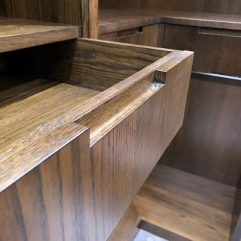 European Oak drawer box, Blumotion Movento Drawer Runners, Concealed finger pull detail to drawer front