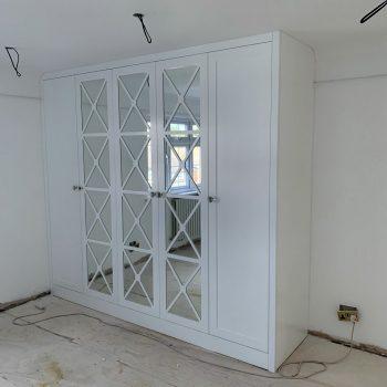 Bespoke Wardrobe, Mirror Fretwork Doors, Finished Sprayed Shaker doors.
