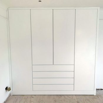 Flush door design wardrobes with fingerpull details