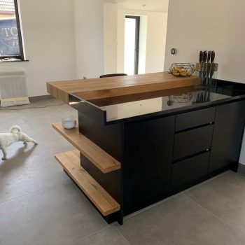 Kitchen finished sprayed in Black colour with Oak worktops