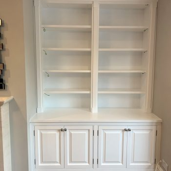 Bespoke Alcove Joinery, Cabinets to lower, open shelves to upper, Fluted pillars