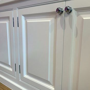 Close up picture of Hand made doors with Lambs tongue moulding and raise and fielded panels