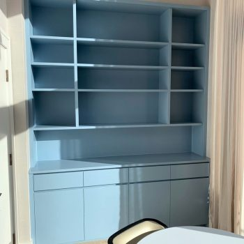 Bespoke storage cabinet for Home office, finished sprayed with finger pull detail to drawer fronts and doors